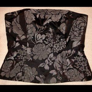 White House Black Market Black Floral Corset